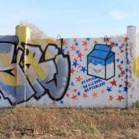 Drugs-Fighting Graffiti on the Fence of Sports Complex Yubileyniy, Рубцовск