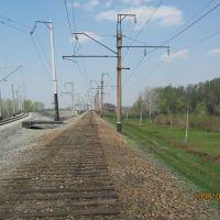 Разобранный железнодорожный путь к старому мосту через Чумыш, Тальменка