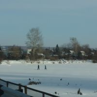 Бочкарёвка, река Томь в январе., Белогорск