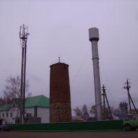 Пожарная часть, вышка мобильной связи, водонапорная башня, Бураево