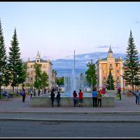 Площадь Металлургов. Вечер у фонтана. (Metallurgists square. Evening at a fountain.), Белорецк