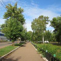 ул. Стахановская слева, парк справа, Ишимбай
