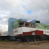 Здание Дома Быта на площади во время ремонта, Нефтекамск
