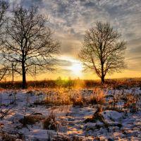 winter sunset, Кокаревка