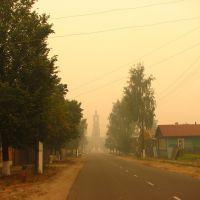 Дым лесных пожаров в Меленках. Улица Ленина (The smoke of forest fires in the Melenki. Lenin street), Меленки