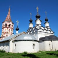 Суздаль.  Антипиевская церковь (1745г) и Лазаревская церковь (1667 г.)   Suzdal.  Antipievskaya Church (1745g) and Lazarus Сhurch (1667), Суздаль