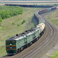 Diesel locomotive 3TE10MK-2355 with cargo train on the stretch Oblivskaya - Chernyshkov, Клетский