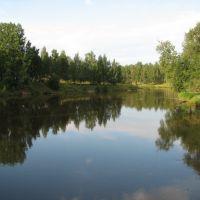 Река Вытегра. Справа — городской парк с детским городком / Vytegra River. Right is the city park, Вытегра