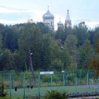 Sports ground and the Cathedral / Спортплощадка и Собор, Вытегра