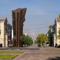 Вид на Памятник металлургам и улицу Металлургов / View of the Monument to metallurgists and the street of Metallurgists (22/07/2007), Череповец