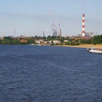"Вид на реку Шексна, пристань ""Ломоносова"", АО ""Северсталь"" / View of the Sheksna river, the quay ""Lomonosovs"", the joint-stock company ""Severstal"" (22/07/2007), Череповец"