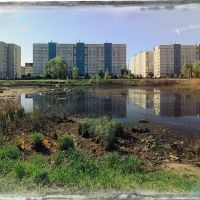 Zavolzhye. Swamp, which is drained before the construction of the kindergarten. View during sunrise., Заволжье