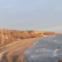 Caspian coast with old sanatoriums south from Kaspiysk, Ачису