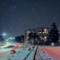ночной снегопад в Саянске, Зима