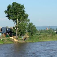 Houses on the river. - Нижнеудинск. Домики на берегу реки., Нижнеудинск