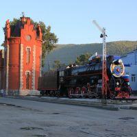 Водонапорная башня и паровоз на станции Слюдянка-1, Слюдянка
