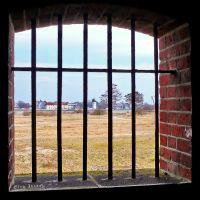 Вид из окна каземата на Калининградский морской канал и Балтийск, Балтийск