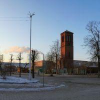 Сохранившаяся башня реформаторской церкви на улице Гагарина в Советске., Советск