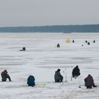 Fishermans on the ice of Volga, Белый Городок