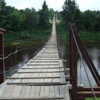 Подвесной мост через Межу (у Кривой берёзы). Вид с моста на другую сторону., Жарковский