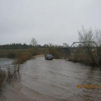 Тверская обл.г.Пено, начало мая,разлив(железнодорожный мост через р.Волгу)., Пено