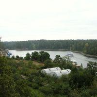Вид на монастырский сад и пристань, Валаам