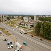 Вид на улицу Интернациональную, Костомукша - View of Internatsionalnaya street in Kostomuksha, Костомукша