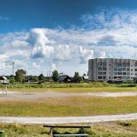 Панорама на футбольное поле в пгт Лоухи, Лоухи