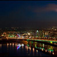Ночной вид на Кузнецкий мост и р.Томь, Кемерово