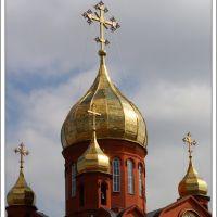 Вертикальная панорама куполов Знаменского собора (Кемерово 2010-05-09 - 3 кадра), Кемерово