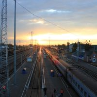 3713-й км Транссиба. Станция Мариинск на рассвете. Вид на восток, Мариинск