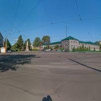 Перекрёсток пр-кта Шахтёров и ул. Комсомольской, панорама на 360°, июнь 2013, Прокопьевск