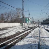 Электропоезд на Томск перед отправлением, Тайга