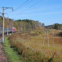 Вид из окна пассажирского поезда №68 Москва - Абакан, перегон Тисуль - Итат, Транссиб, Тяжинский