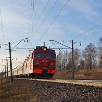 Электровоз ЭП1-036 с пассажирским поездом, участок Тисуль - Акимо-Аненка, перегон Тисуль - Итат, Транссиб, Тяжинский