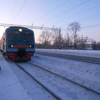 Электропоезд ЭД9М (Балезино-Киров) прибыл на станцию Фаленки 05.02.2012, Фаленки