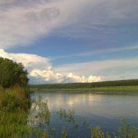 Вид на р. Ижма с берега с. Усть-Ухта, Сосногорск