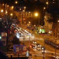 Угол улиц Северной и Красной ночью, Краснодар