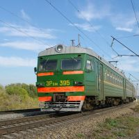 EMU-train ER9M-395 near train station Kuschevka, Кущевская