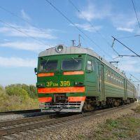 EMU-train ER9M-395 near train station Kuschevka, Кущевская