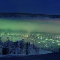 Дивногорск ночью с горнолыжной трассы, Балахта