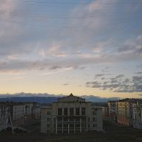 The sky over Culture palace, view from Gora, Summer night in Norilsk, July 2007, Норильск