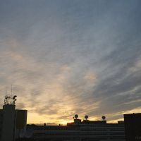 Summer night sky and the sun, view from Gora, Summer night in Norilsk, July 2007, Норильск