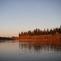 река Вельмо, осенний закат на реке, Северо-Енисейский