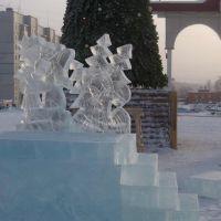 строительство ледяного городка в Кодинске., Кодинск