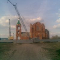 Собор Серафима Саровского, г.Курчатов - подъезд к стройке, 50-60 метров - (стройка), Курчатов
