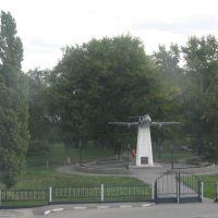 Памятник самолёту (вид из поезда), Грязи