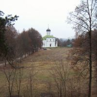 Assumption Cathedral, view from a distant wall of the ancient Zvenigorod settlement, Звенигород