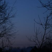 Венера (планета) над деревней Гореносово. Planet Venus over village Gorenosovo, Опалиха