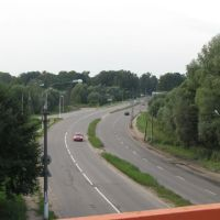 View to the road from the bridge / Вид с моста на дорогу, Пушкино